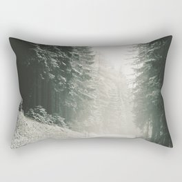 Forest Road In Winter Rectangular Pillow