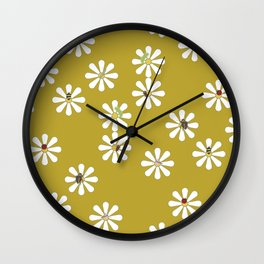 Bugs on Daisies in Mustard Wall Clock