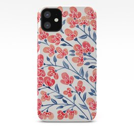 Cherry Blossoms – Melon & Navy Palette iPhone Case