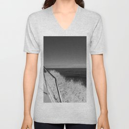 Sailing in the wind through the waves, Boat, Black and White photography #Society6 Unisex V-Neck