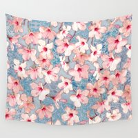 bedding Wall Tapestries featuring Shabby Chic Hibiscus Patchwork Pattern in Pink & Blue by micklyn