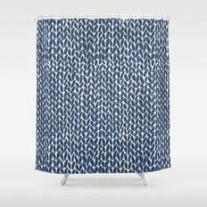 Hand Knit Navy Shower Curtain