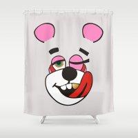 miley cyrus Shower Curtains featuring Twerk Bear Miley Cyrus by Alan Lima