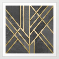 deco Art Prints featuring Art Deco Geometry 1 by Elisabeth Fredriksson