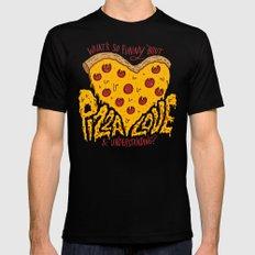 Pizza Love & Understanding Mens Fitted Tee MEDIUM Black