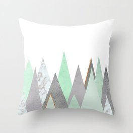 MINT COPPER MARBLE GRAY GEOMETRIC MOUNTAINS Throw Pillow