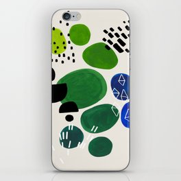 Fun Abstract Minimalist Mid Century Modern Colorful Shapes Lime Green Blue Watercolor Bubbles iPhone Skin