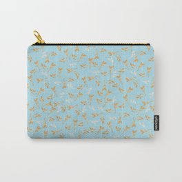 Gold & pearl watercolor leaves on light blu seamless pattern Carry-All Pouch
