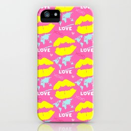In love with a world design on pink background with yellow lip mark iPhone Case