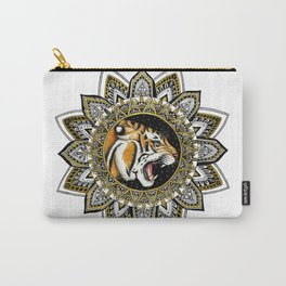 Black and Gold Roaring Tiger Mandala Carry-All Pouch