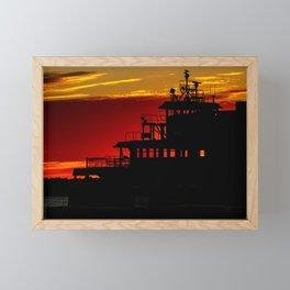 Staten Island Ferry Silhouette Framed Mini Art Print