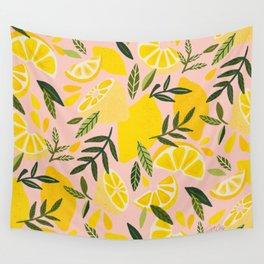 Lemon Blooms – Blush Palette Wall Tapestry