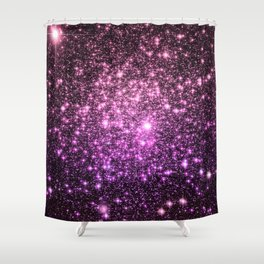 Glitter Galaxy Stars : Pink Lavender Purple Ombre Shower Curtain