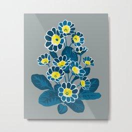 Primula Lace Blue. Flower pattern Metal Print