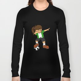 Nigeria Soccer Ball Dabbing Girl Nigerian Football Long Sleeve T-shirt