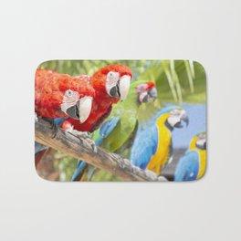 Curious macaws Bath Mat