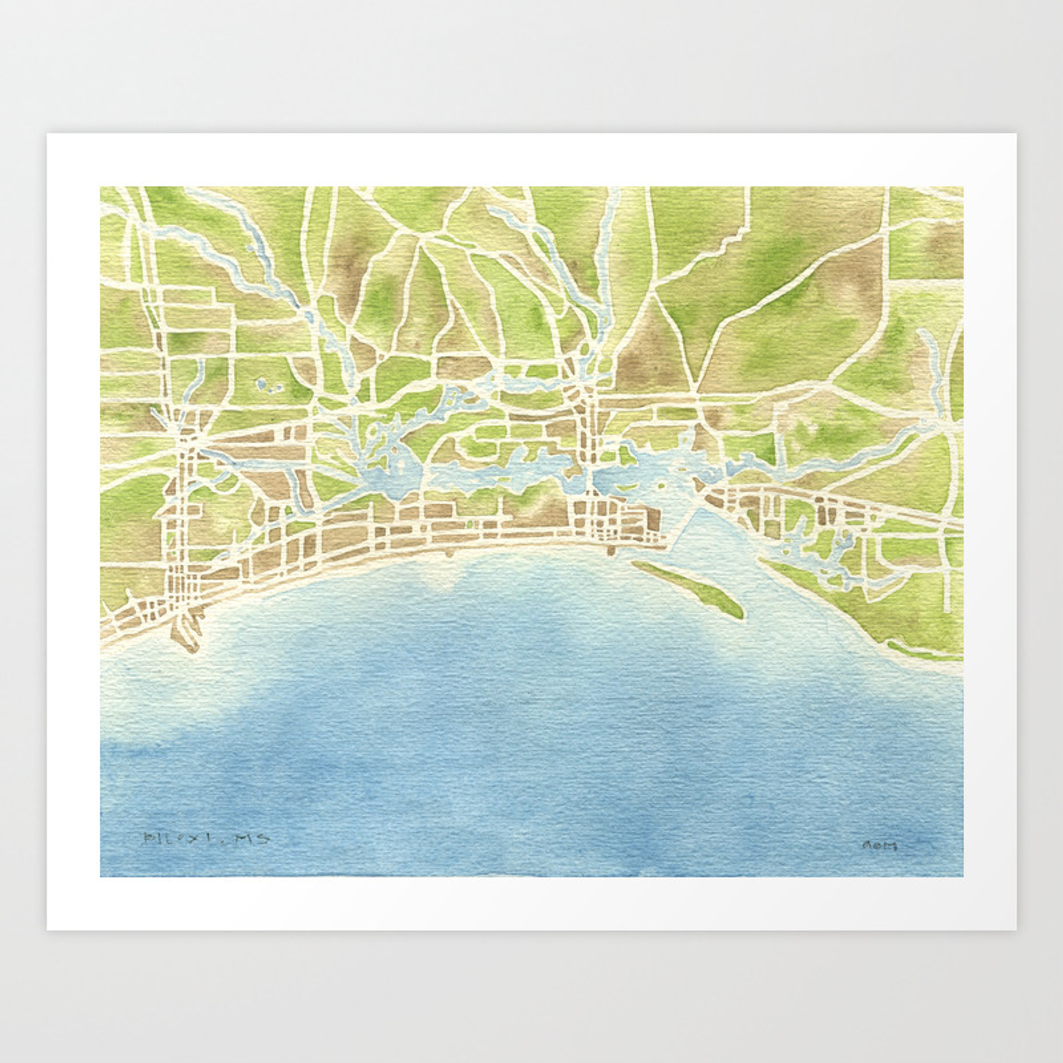 Biloxi Mississippi Coast Watercolor Map Art Print By Aemcdraw