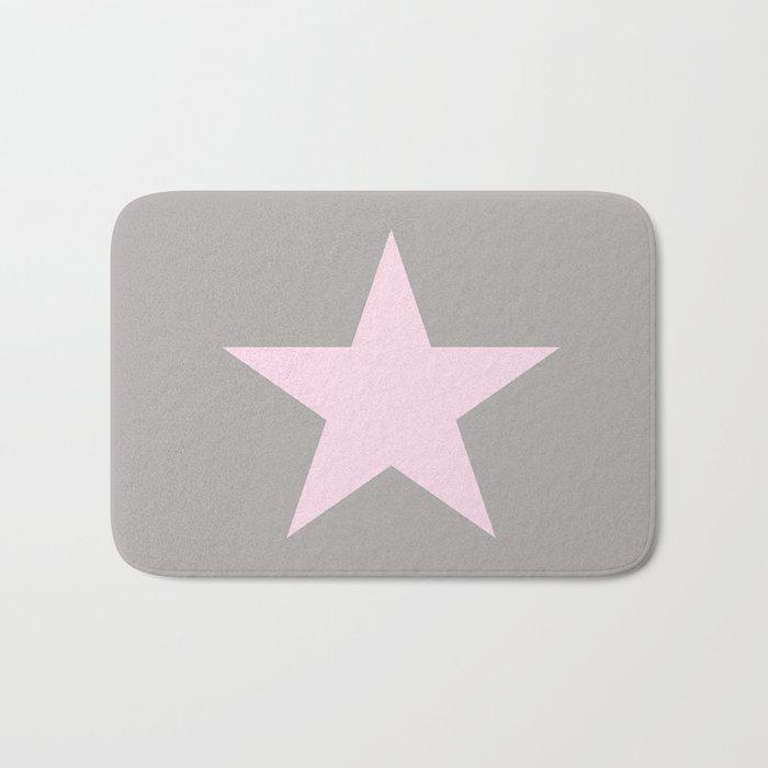 Pink star on grey background Bath Mat