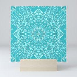 Teal mandala Mini Art Print