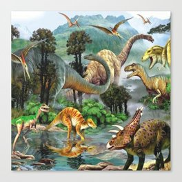 Jurassic dinosaurs drink in the river Canvas Print