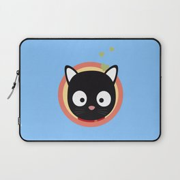 Black Cute Cat With Hearts Laptop Sleeve