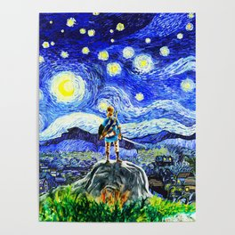 triforce link starry night Poster