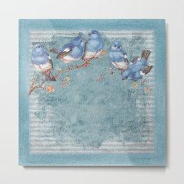 Shabby Chic Blue Birds Metal Print