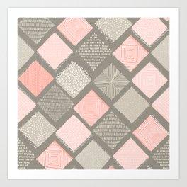 Tan and Blush Argyle with Texture Art Print