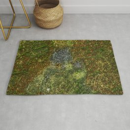 Old stone wall with moss Rug