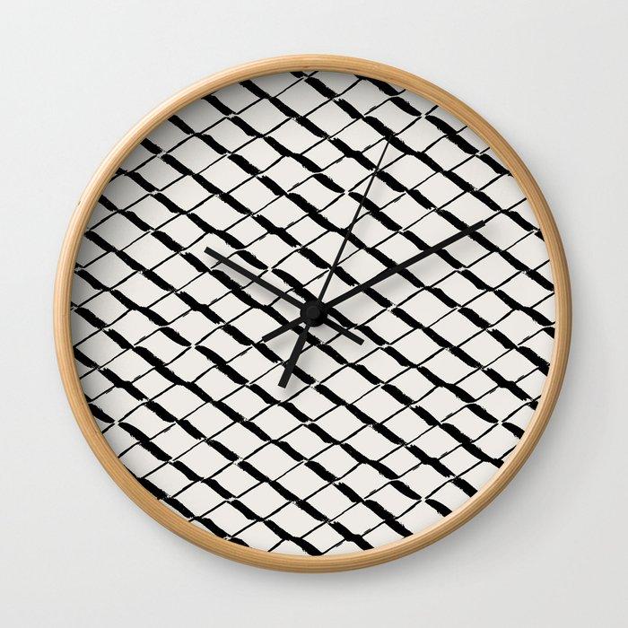 Modern Diamond Lattice 2 Black on Light Gray Wall Clock