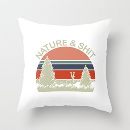 "Retro  Shooting Tee For Hunters Saying ""Nature & Shit"" T-shirt Design Hunting Rifle Deer Mountains Throw Pillow"