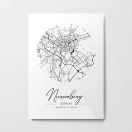 Nuremberg Area City Map, Nuremberg Circle City Maps Print, Nuremberg Black Water City Maps Metal Print