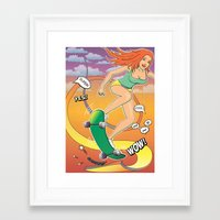 skateboard Framed Art Prints featuring Skateboard by fabifa