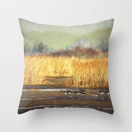 Dusky Canada Geese Wintering At Fern Ridge Throw Pillow