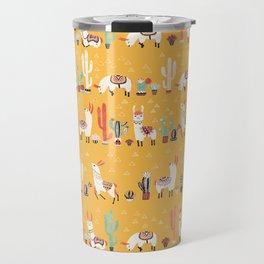 Happy llama with cactus in a pot Travel Mug