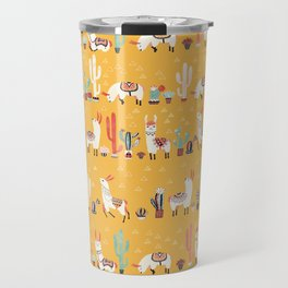 Happy llama with cactus in a pot Travel Mug