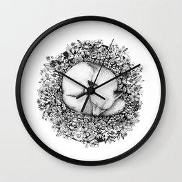 Fox Sleeping in Flowers Wall Clock