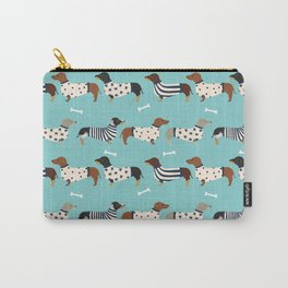 Dachshund sweaters cute gifts for dog lover pet friendly dog breed dachsie doxie dogs Carry-All Pouch