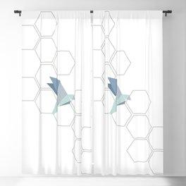 Origami birds mint grey octagon Blackout Curtain