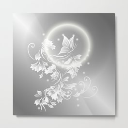 Floral Butterfly Silver Metal Print