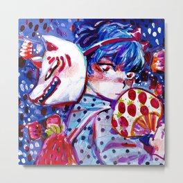 fox mask boy Metal Print