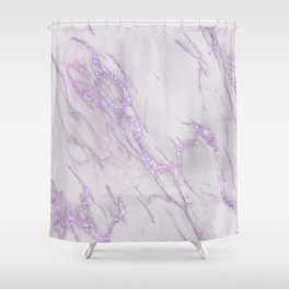 Marble Love Purple Metallic Shower Curtain