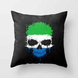 Flag of Sierra Leone on a Chaotic Splatter Skull Throw Pillow