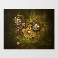 wall clock Canvas Prints featuring Clock Wall 2 by Deborah DaNaan