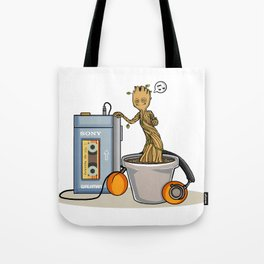 Baby Groot listening to the awesome mix vol.1 Tote Bag