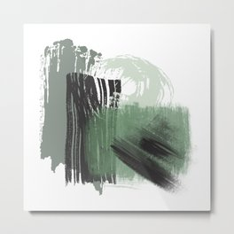 Green Mint Black Gray Abstract painting -1, Nirvana Decorative abstraction, Metal Print
