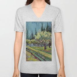 Orchard Bordered by Cypresses Unisex V-Neck