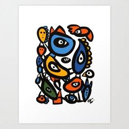 Tribal Graffiti Art Creatures Abstract by Emmanuel Signorino Art Print