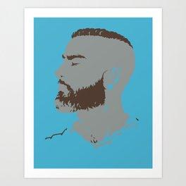 Bearded Man I - Blue Art Print