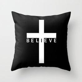 Believe Cross (Black & White) Throw Pillow